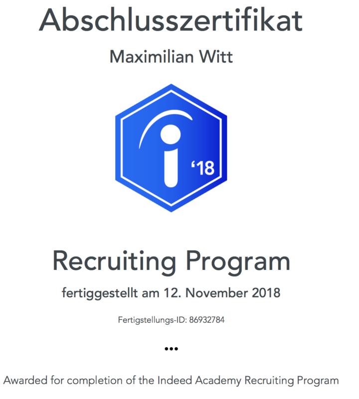 Abschlusszertifikat - Indeed Academy - Recruiting Program
